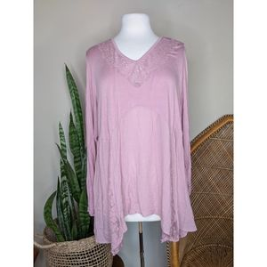 AVENUE Plus Size Pink Peasant Top With Lace Detail